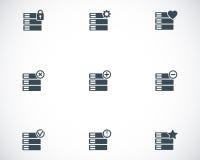 Icone nere della base di dati di vettore messe Immagine Stock Libera da Diritti