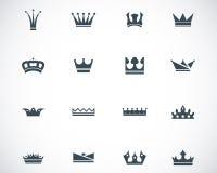 Icone nere della corona di vettore Fotografia Stock
