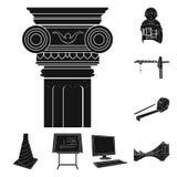 Icone nere della costruzione e di architettura nella raccolta dell'insieme per progettazione Web delle azione di simbolo di vetto Fotografie Stock