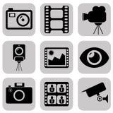 Icone nere della foto di vettore messe Fotografia Stock