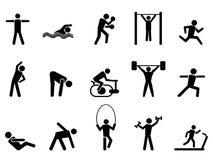 Icone nere della gente di forma fisica messe Fotografia Stock