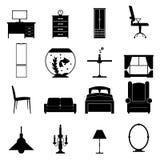 Icone nere della mobilia messe Immagine Stock