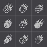 Icone nere delle palle di sport del fuoco di vettore messe Fotografia Stock Libera da Diritti