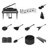 Icone nere dello strumento musicale nella raccolta dell'insieme per progettazione Azione isometriche di simbolo di vettore dello  illustrazione di stock