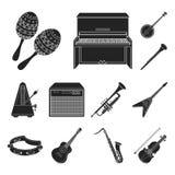 Icone nere dello strumento musicale nella raccolta dell'insieme per progettazione Lo strumento di vento e della corda vector il w illustrazione vettoriale