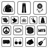Icone nere di attributo e felici nella raccolta dell'insieme per progettazione Felice ed accessori vector l'illustrazione di rise illustrazione vettoriale
