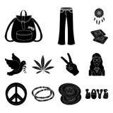 Icone nere di attributo e felici nella raccolta dell'insieme per progettazione Felice ed accessori vector l'illustrazione di rise royalty illustrazione gratis