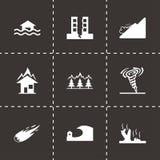 Icone nere di disastro di vettore messe Immagini Stock Libere da Diritti