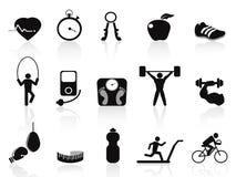 Icone nere di forma fisica impostate Immagini Stock