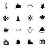 Icone nere di inverno di vettore messe Fotografie Stock