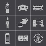 Icone nere di Londra di vettore messe Immagini Stock