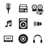 Icone nere di musica Fotografia Stock