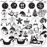 Icone nere di Natale Immagine Stock