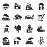 Icone nere di rischio e di assicurazione illustrazione di stock