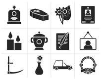 Icone nere di sepoltura e di funerale illustrazione di stock