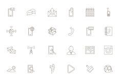 Icone nere di servizi del cellulare messe Fotografia Stock