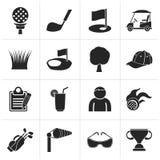 Icone nere di sport e di golf illustrazione vettoriale