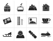 Icone nere di sport e di Ski Track illustrazione vettoriale