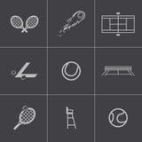 Icone nere di tennis di vettore messe Fotografia Stock