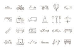 Icone nere di trasporto messe Fotografie Stock