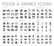 Icone nere di vettore della bevanda e dell'alimento messe Fotografia Stock