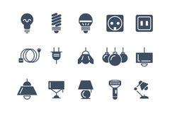 Icone nere di vettore delle lampadine e della lampada messe Simboli elettrici Immagine Stock