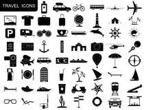Icone nere di viaggio Fotografie Stock Libere da Diritti