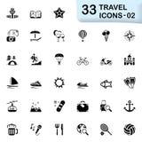 33 icone nere 02 di viaggio Fotografie Stock Libere da Diritti