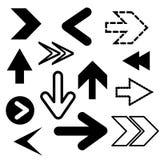 Icone nere differenti delle frecce, insieme di vettore Elementi astratti per la b royalty illustrazione gratis