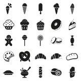 Icone nere minime semplici del dessert messe Immagini Stock