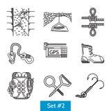 Icone nere per gli accessori di arrampicata Fotografia Stock