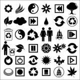 Icone nere su bianco Fotografia Stock Libera da Diritti