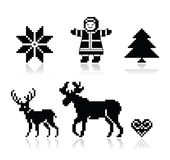 Icone nordiche del modello di Natale messe Fotografia Stock