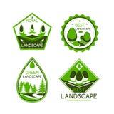 Icone o emblemi di vettore di architettura del pæsaggio messi Fotografia Stock