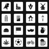 Icone olandesi messe, stile semplice Immagine Stock Libera da Diritti