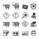 Icone online del negozio della siluetta Immagini Stock Libere da Diritti
