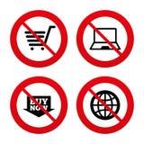 Icone online di acquisto Notebook PC, carretto, affare Fotografia Stock Libera da Diritti