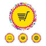 Icone online di acquisto Notebook PC, carretto, affare Immagine Stock Libera da Diritti
