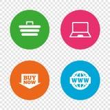 Icone online di acquisto Notebook PC, carretto, affare Immagini Stock
