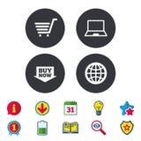 Icone online di acquisto Notebook PC, carretto, affare Immagine Stock