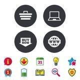 Icone online di acquisto Notebook PC, carretto, affare Immagini Stock Libere da Diritti