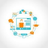 Icone online di istruzione Immagini Stock