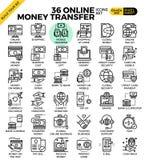 Icone online di pagamento di trasferimento di denaro Fotografia Stock Libera da Diritti