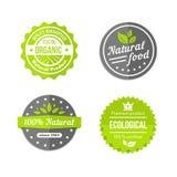 Icone organiche di eco e naturali dell'alimento messe Fotografia Stock Libera da Diritti