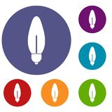 Icone ovali di forma della lampada messe Fotografia Stock