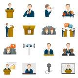 Icone parlare pubblico Immagine Stock