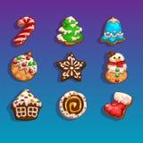 Icone per i giochi sul Natale di tema Fotografia Stock Libera da Diritti
