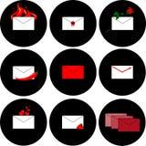 Icone per i messaggi e posta su un fondo nero Immagine Stock