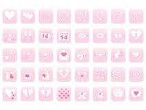 Icone per il giorno del biglietto di S. Valentino Fotografie Stock
