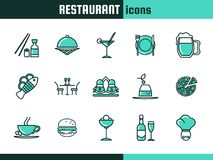 Icone per il ristorante Fotografia Stock Libera da Diritti